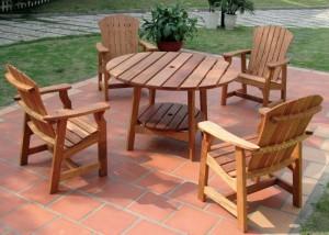 Outdoor wooden patio furniture